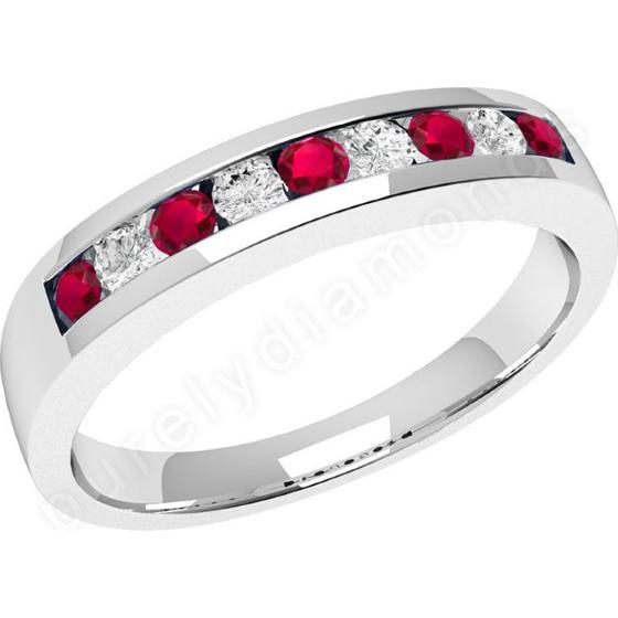 Rubin und Diamant Ring für Dame in 18kt Weißgold mit 9 Steinen-img1