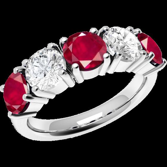 Inel cu Rubin si Diamant Dama Aur Alb 18kt cu 5 Pietre, 3 Rubine si 2 Diamante Setate cu Gheare-img1