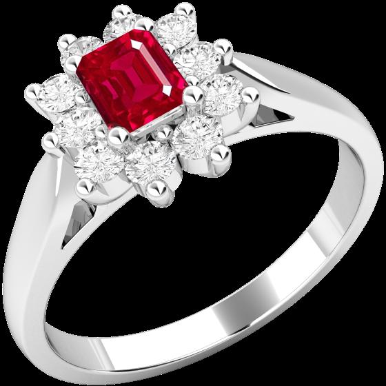 Rubin und Diamant Ring für Dame in 18kt Weißgold mit einem Smaragd Schliff Rubin umgeben von runden Brillanten in Krappenfassung-img1