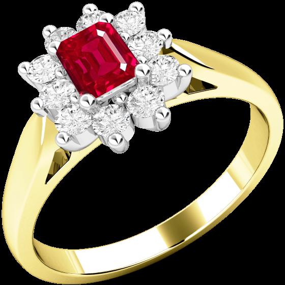 Rubin und Diamant Ring für Dame in 18kt Gelbgold und Weißgold mit einem Smaragd Schliff Rubin umgeben von runden Brillanten in Krappenfassung-img1