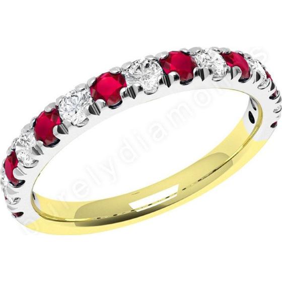 Rubin und Diamant Ring für Dame in 18kt Gelbgold und Weißgold mit 15 Steinen in Krappenfassung-img1