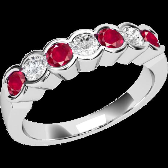 Inel cu Rubin si Diamant Dama Aur Alb 18kt cu 7 Pietre, Rubine si Diamante-img1