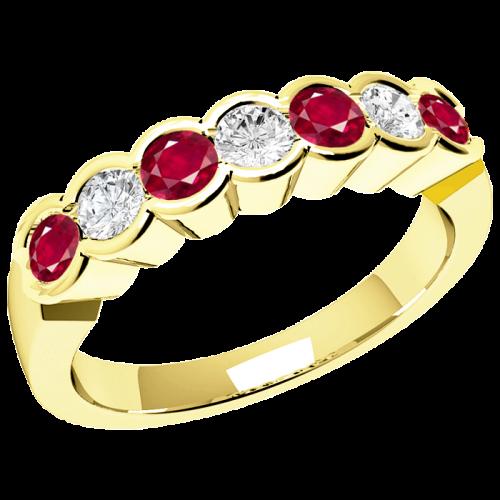 Rubin und Diamant Ring für Dame in 18kt Gelbgold mit 7 Steinen-img1