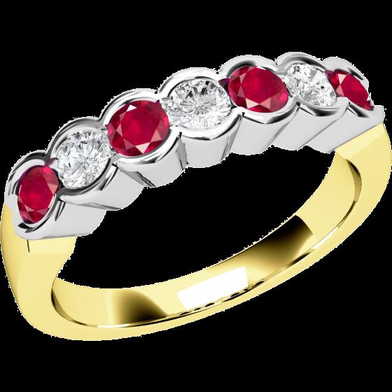 Rubin und Diamant Ring für Dame in 18kt Gelbgold und Weißgold mit 7 Steinen-img1