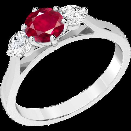 Rubin und Diamant Ring für Dame in 18kt Weißgold mit einem runden Rubin und 2 runden Brillanten in Krappenfassung-img1