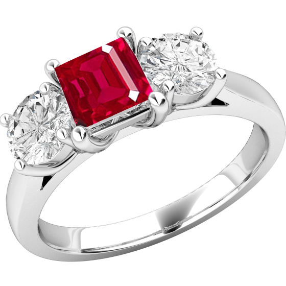 Inel cu Rubin si Diamant Dama Aur Alb 18kt cu un Rubin Forma Patrata si 2 Diamante Rotund Briliant in Setare Gheare-img1