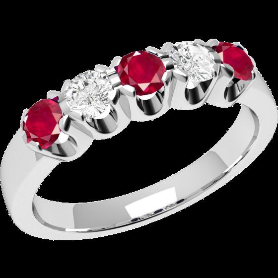 Rubin und Diamant Ring für Dame in 18kt Weißgold mit 3 runden Rubinen und 2 runden Brillant Schliff Diamanten-img1