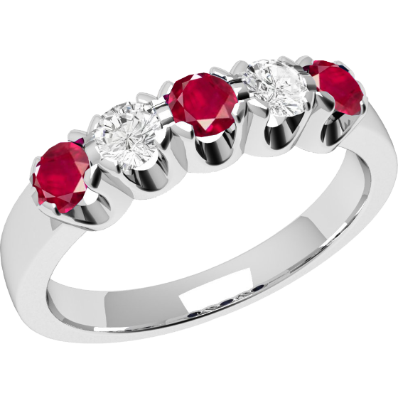 Inel cu Rubin si Diamant Dama Aur Alb 18kt cu 3 Rubine Rotunde si 2 Diamante Rotunde-img1