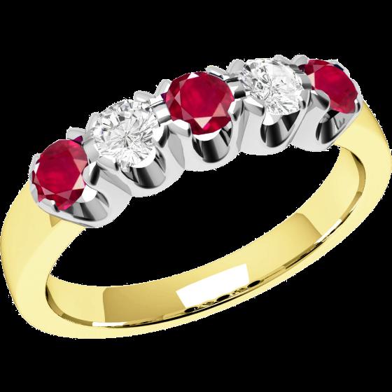 Rubin und Diamant Ring für Dame in 18kt Gelbgold und Weißgold mit 3 runden Rubinen und 2 runden Brillant Schliff Diamanten-img1
