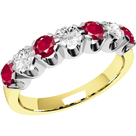 Ruby and Diamond Ring for Women in 18ct yellow and white gold with 7 stones-img1
