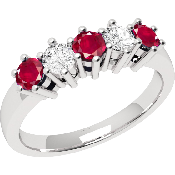 Ruby and Diamond Ring for Women in 9ct white gold with 5 stones-img1