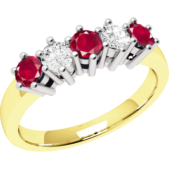 Ruby and Diamond Ring for Women in 9ct yellow and white gold with 5 stones-img1