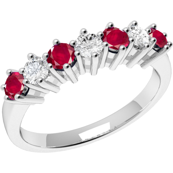 RDR253W-Inel cu Rubin si Diamant Dama Aur Alb 18kt cu 7 Pietre, Rubine si Diamante in Setare Gheare,Stil Elegant-img1