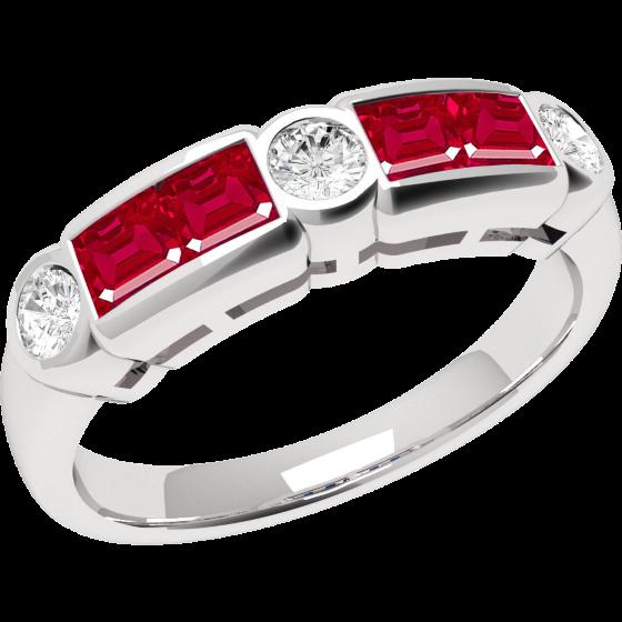 Inel cu Rubin si Diamant Dama Aur Alb 18kt cu 7 Pietre, Rubine si Diamante in Setare Rub-Over-img1