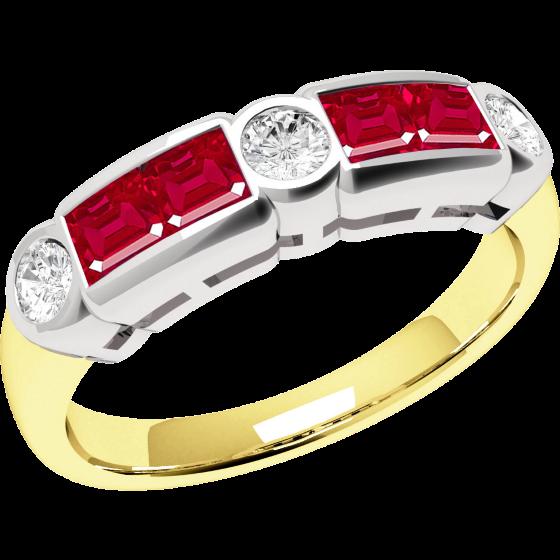 Rubin und Diamant Ring für Dame in 18kt Gelbgold und Weißgold mit 4 Rubinen und 3 Diamanten-img1