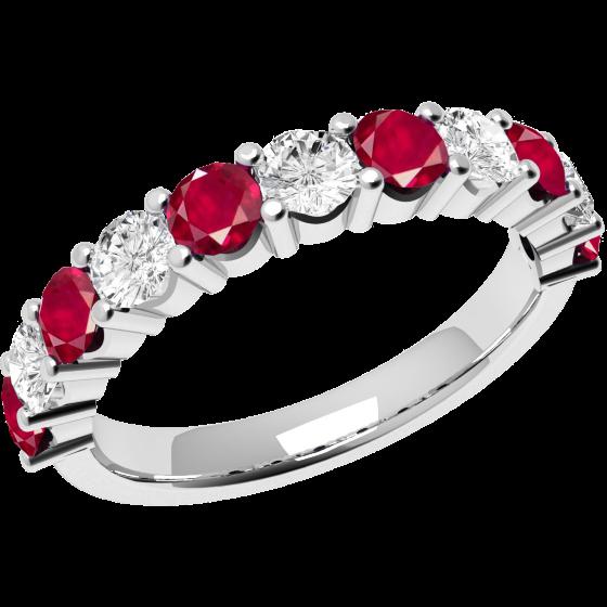 RDR302W-Inel cu Rubin si Diamant Dama Aur Alb 18kt cu 6 Rubine Rotunde si 5 Diamante Rotunde,Stil Elegant-img1