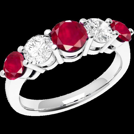 Inel cu Rubin si Diamant Dama Aur Alb 18kt cu 5 Pietre, 3 Rubine si 2 Diamante cu Dimensiuni Gradate-img1