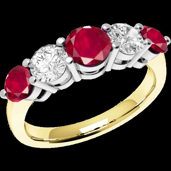 Rubin und Diamant Ring für Dame in 18kt Gelbgold und Weißgold mit 5 runden Steinen-img1