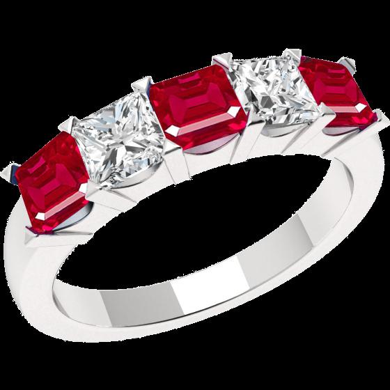 Inel cu Rubin si Diamant Dama Aur Alb 18kt cu 3 Rubine Patrate si 2 Diamante Princess-img1