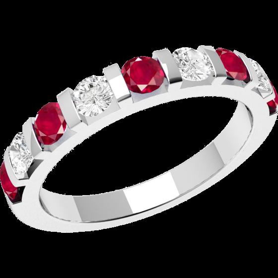 Inel cu Rubin si Diamant Dama Aur Alb 18kt cu 9 Pietre, Rubine si Diamante cu Setare Bara-img1