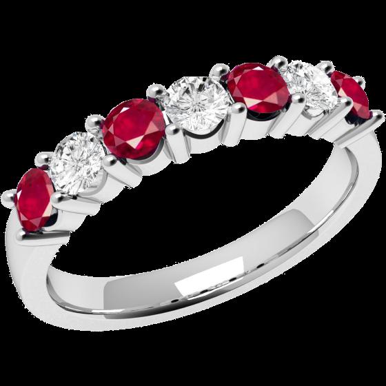 Rubin und Diamant Ring für Dame in 9kt Weißgold mit 7 Steinen in Krappenfassung-img1