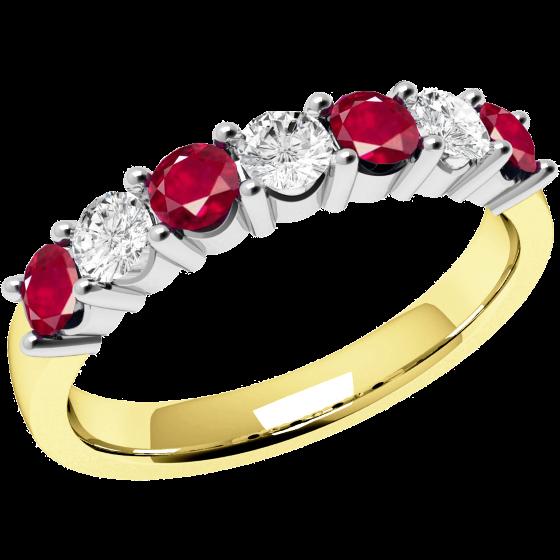 Rubin und Diamant Ring für Dame in 18kt Gelbund Weißgold mit 7 Steinen in Krappenfassung-img1
