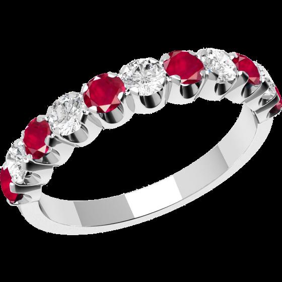 Inel cu Rubin si Diamant Dama Aur Alb 18kt cu 11 Pietre, Rubine si Diamante-img1