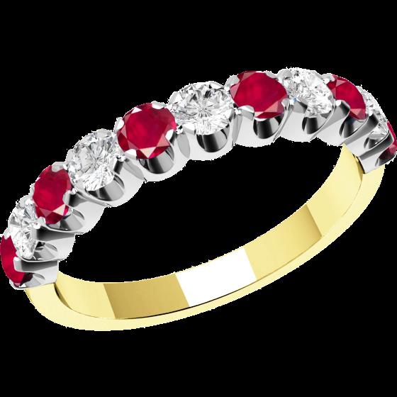 Rubin und Diamant Ring für Dame in 18kt Gelbgold und Weißgold mit 11 Steinen-img1