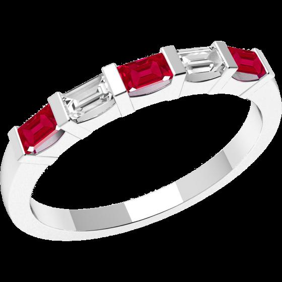 Inel cu Rubin si Diamant Dama Aur Alb 18kt cu 3 Rubine si 2 Diamante Forma Bagheta cu Setare Bara-img1