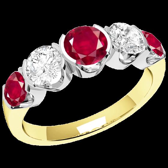 Rubin und Diamant Ring für Dame in 18kt Gelbgold und Weißgold mit 3 runden Rubinen und 2 runden Brillanten in Semi-Zargenfassung-img1