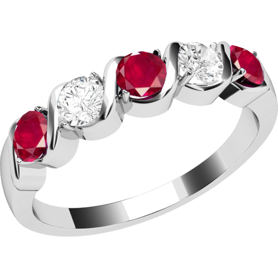 Ruby and Diamond Ring for Women in 9ct white gold with 5 stones, 3 rubies and 2 round diamonds-img1