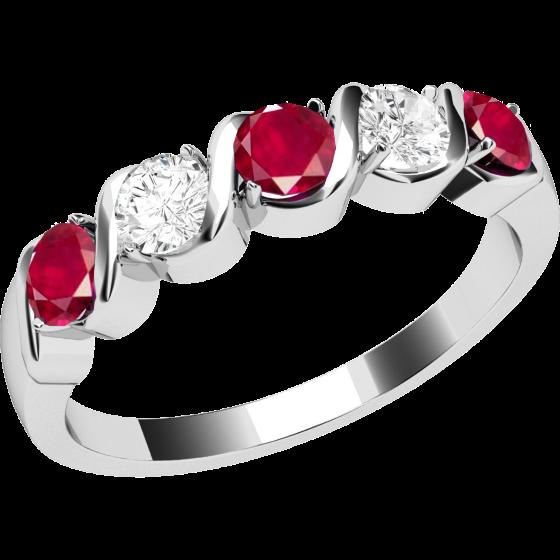 Rubin und Diamant Ring für Dame in 18kt Weißgold mit 5 Steinen-img1