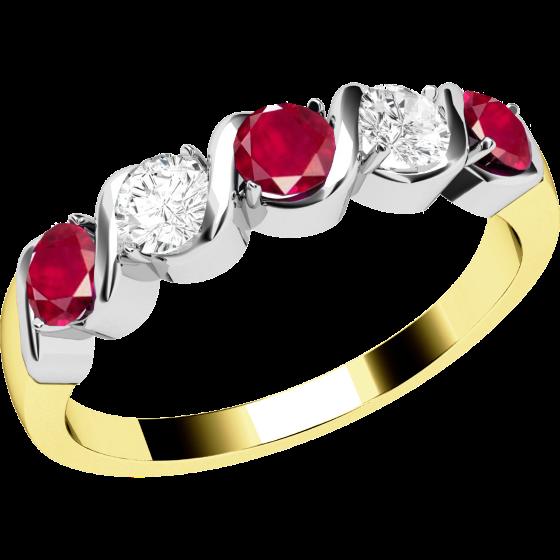 Rubin und Diamant Ring für Dame in 18kt Gelbgold und Weißgold mit 5 Steinen-img1