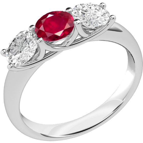 RDR382W-Inel cu Rubin si Diamante Dama Aur Alb 18kt cu un Rubin si 2 Diamante Rotund Briliant Setate cu Gheare-img1