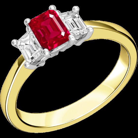 Rubin und Diamant Ring für Dame in 18kt Gelbgold und Weißgold mit 2 Smaragd Schliff Diamanten und einem Smaragd Schliff Rubin in Krappenfassung-img1