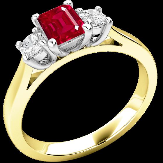 rubin und diamant ring fuer dame in 18kt gelbgold und weissgold mit einem smaragd schliff rubin. Black Bedroom Furniture Sets. Home Design Ideas
