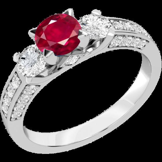 Rubin und Diamant Ring für Dame in 18kt Weißgold mit einem runden Rubin und runden Brillanten auf beiden Seiten und auf den Schultern-img1