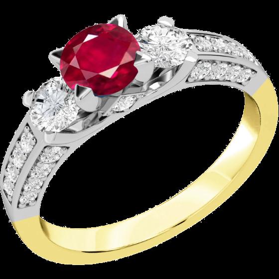 Rubin und Diamant Ring für Dame in 18kt Gelbgold und Weißgold mit einem runden Rubin und runden Brillanten auf beiden Seiten und auf den Schultern-img1