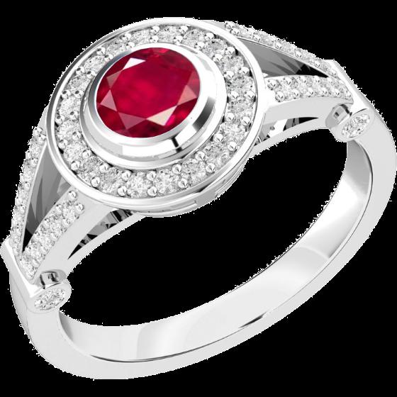 Rubin und Diamant Ring für Dame in 18kt Weißgold mit einem runden Rubin in Zargenfassung und kleinen Brillanten in Krappenfassung-img1