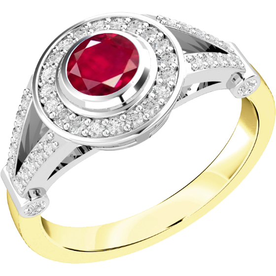 Rubin und Diamant Ring für Dame in 18kt Gelbgold und Weißgold mit einem runden Rubin in Zargenfassung und kleinen Brillanten in Krappenfassung-img1