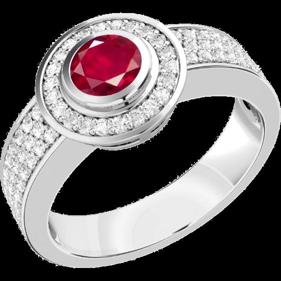 Rubin und Diamant Ring für Dame in 18kt Weißgold mit einem runden Rubin umgeben von kleinen Brillantschliff Diamanten-img1