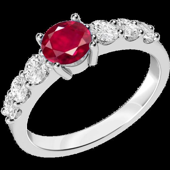 Inel cu Rubin si Diamant Dama Aur Alb 18kt cu un Rubin Rotund si Diamante Rotund Briliant pe Margini-img1