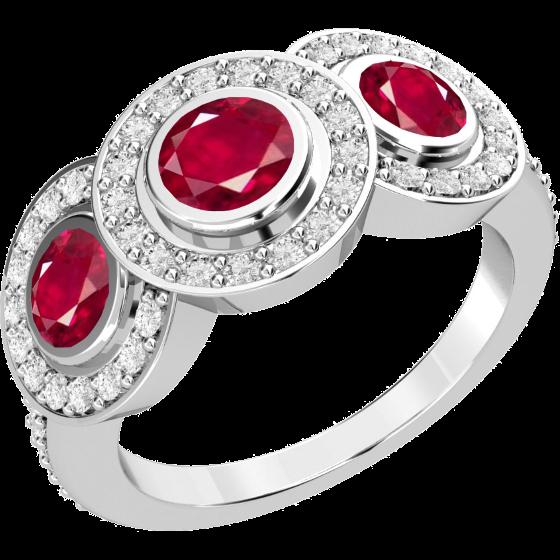 Rubin und Diamant Ring für Dame in 18kt Weißgold mit 3 runden Rubinen umgeben von runden Brillanten-img1