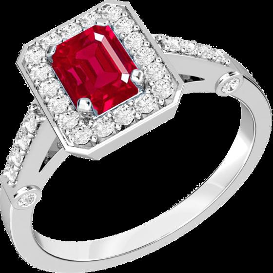 Rubin und Diamant Ring für Dame in 18kt Weißgold mit einem Smaragd Schliff Rubin in der Mitte und kleinen runden Brillanten-img1