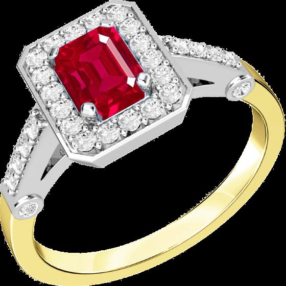 Inel cu Rubin si Diamant Dama Aur Galben si Aur Alb 18kt cu un Rubin Forma Smarald cu Diamante Rotund Briliant in Jur-img1