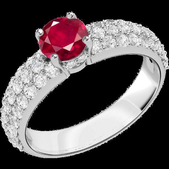 Inel cu Rubin si Diamant Dama Aur Alb 18kt cu un Rubin Rotund si Diamante Rotund Briliant in Setare Pavata pe Lateral-img1