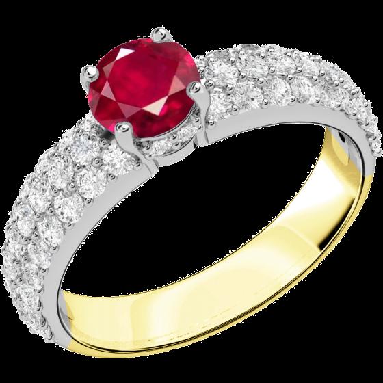 Rubin und Diamant Ring für Dame in 18kt Gelb & Weißgold mit einem Rubin in Krappenfassung und runden Brillanten in Pavefassung auf den Schultern-img1