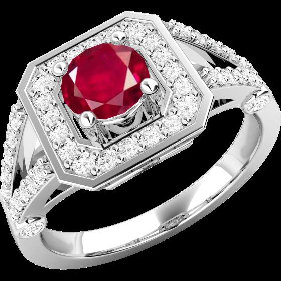 Inel cu Rubin si Diamant Dama Aur Alb 18kt cu un Rubin Rotund inconjurat de Diamante Rotund Briliant Mici-img1
