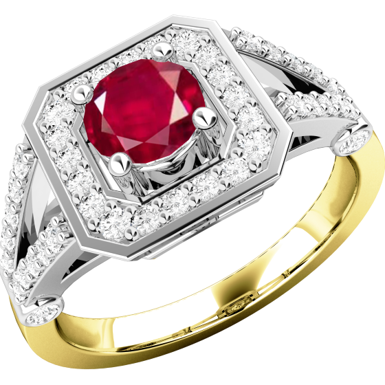 Rubin und Diamant Ring für Dame in 18kt Gelbgold und Weißgold mit einem runden Rubin umgeben von kleinen runden Brillanten-img1