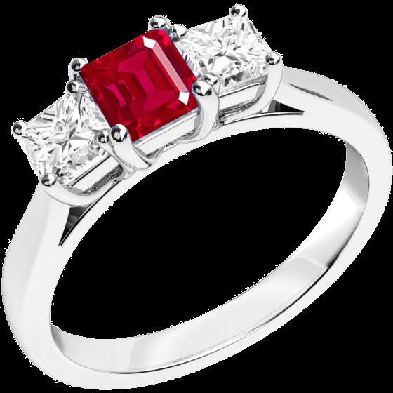 Inel cu Rubin si Diamant Dama Aur Alb 18kt cu un Rubin Patrat in Centru si Diamante Forma Princess pe Margini-img1